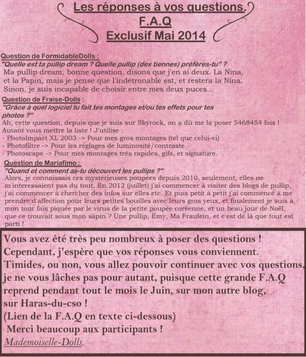 ✎ Grande F.A.Q Exclusif Mai 2014 // + Vos réponses.