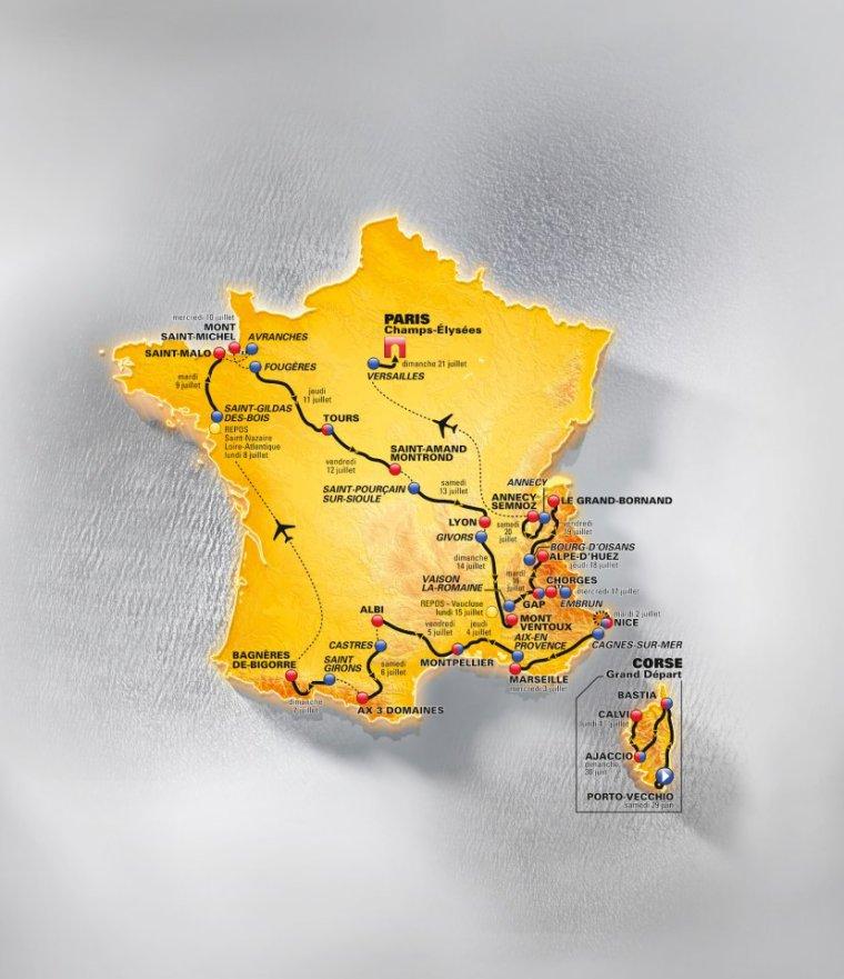 Étapes de la 100éme édition du Tour de France :) ♥