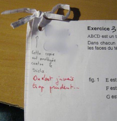 Les copies des élèves les + malades de la terre (fous rires assuré sauf si vous êtes un sans humour)