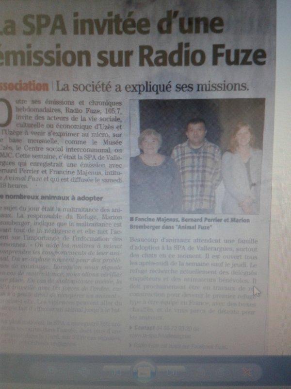 FUZE LA RADIO DE L'UZEGE PARTENAIRE DE LA SPA DE VALLERARGUESS