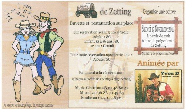 Soirée à Zetting le 17 Novembre 2012