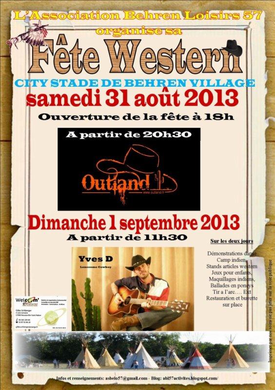 samedi 31.08 et dimanche 01.09.2013       Fête Western à Behren