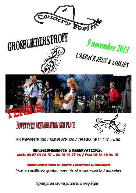 soirée country le samedi 9 novembre 2013 à Grosbli