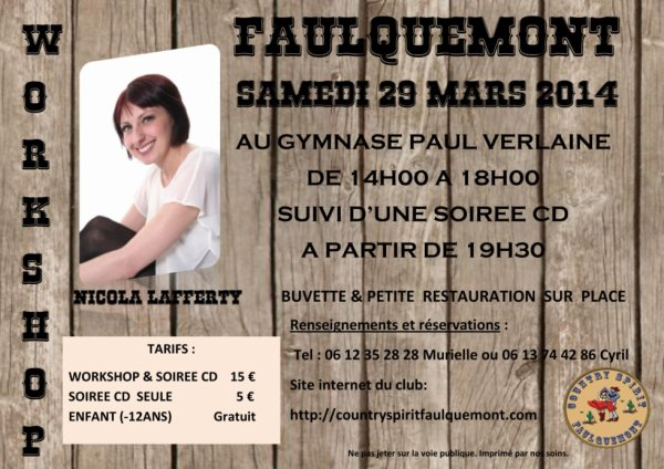 Samedi 29 mars 2014 Workshop et soirée CD à Faulquemont