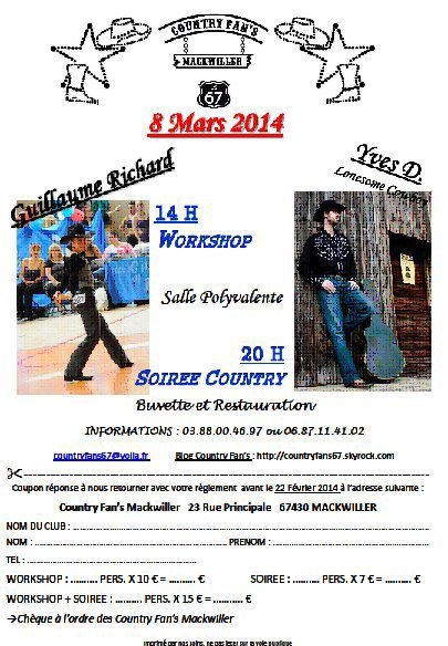 Samedi 8 mars 2014 workshop et soirée à Mackwiller