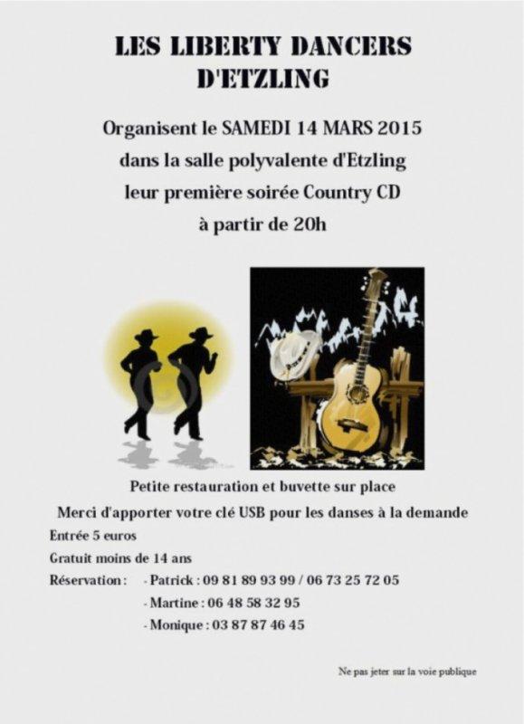 soirée country à Etzling le samedi 14 mars 2015