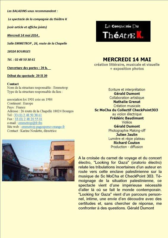 THEATRE 14 MAI 2014  - ROUTE DE LA CHAPELLE  - BOURGES