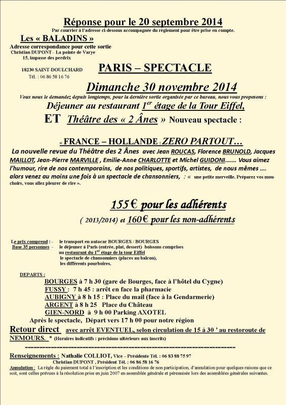 VOYAGE A PARIS - DINER - SPECTACLE 30 NOVEMBRE 2014