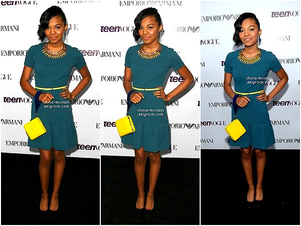 21/09/2013 : China McClain était présente à la soirée Teen Vogue Young Hollywood Party . China était magnifique à cet évenement, c'est d'ailleurs l'une des premières fois que l'on voit China assistée à un évenement si important.