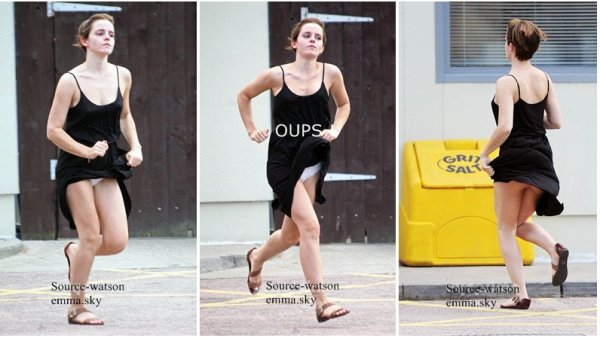 06/08/2011 : Emma a été vue courir dans les rue de Londres , malheuresement la belle a oublier qu'elle était en robe et OUPS ! la petite culotte .