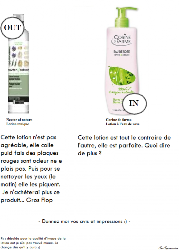 #Avis une lotion ? (in /out)