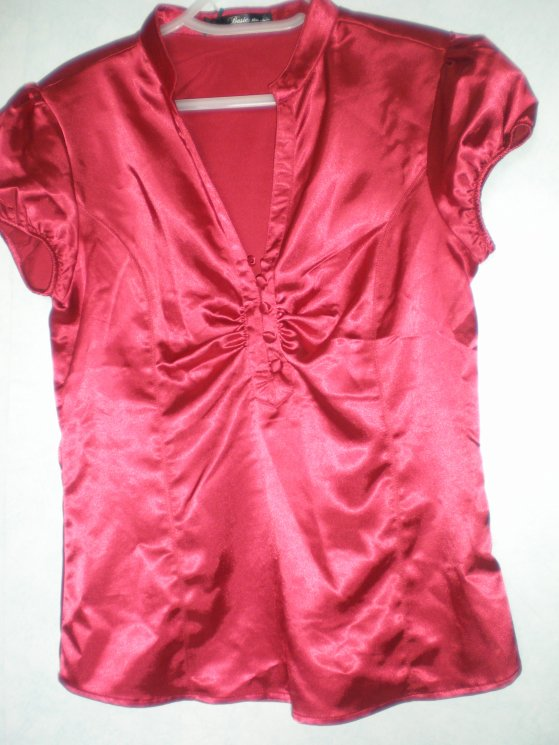 chemise satin rouge - mim's - T.M
