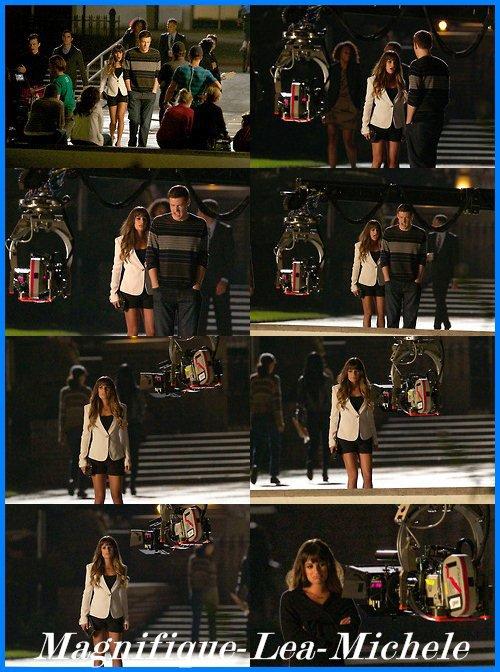 Léa sur le set de Glee + la nouvelle promo + Léa et Chris au Fox Lounge.