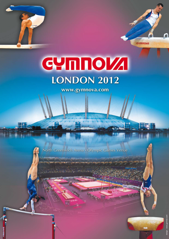 Très jolie affiche de Gymnova, fournisseur des agrès olympiques de Londres