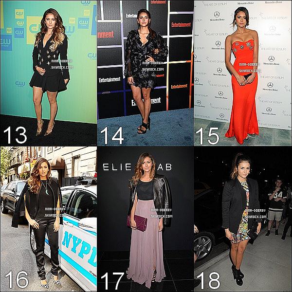 . 2014: 39 magnifique tenue protées par Nina en 2014.Quelle est votre préféré ?  Ma préféré est la 6 ! pourquoi ? parce que l'ensemble est vraiment jolie et Nina le porte vraiment très bien, je ne suis pas une fan des chaussures mais sa lui va très bien un gros coup de coeur pour cette ensemble, top. J'aime beaucoup la tenue 23 aussi qui est vraiment super jolie c'est une longue robe super bien porter par Nina et les chaussures sont tres jolie, un top également! .