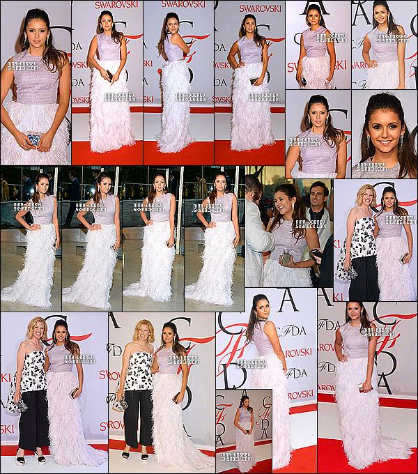 . 01/06/15 : La magnifique Nina Dobrev était présente à la cérémonie des « CFDA Fashion Awards » à New York. Nina portait un haut move et une longue jupe blanche signée Lela Rose. J'aime bien sa tenue, Nina est magnifique c'est un beau top que je lui donne. .