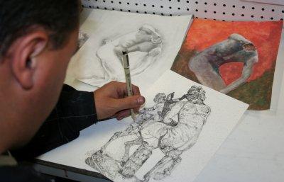 Première semaine de formation longue commençant par les cours de dessin et de gouaches