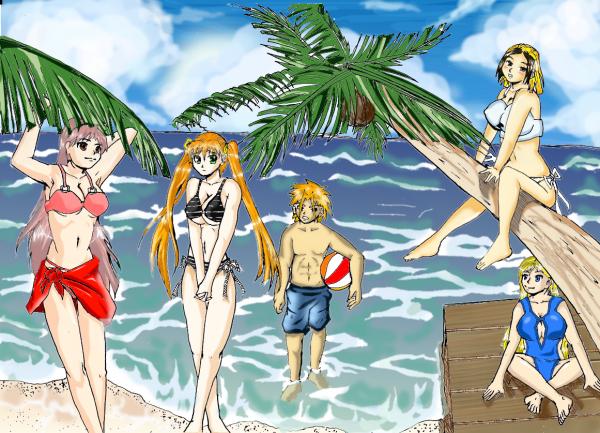 Nasuki et les filles à la plage