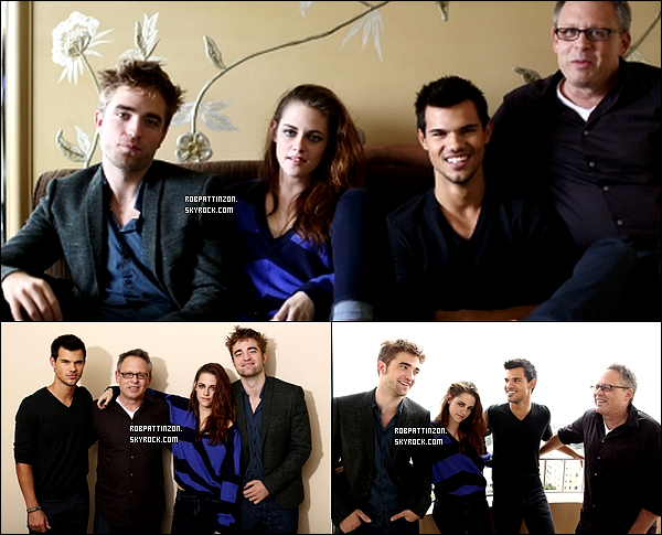 01/11/12: Portrait de Kristen, Robert, Taylor et Bill pour Breaking Dawn part 2 press day