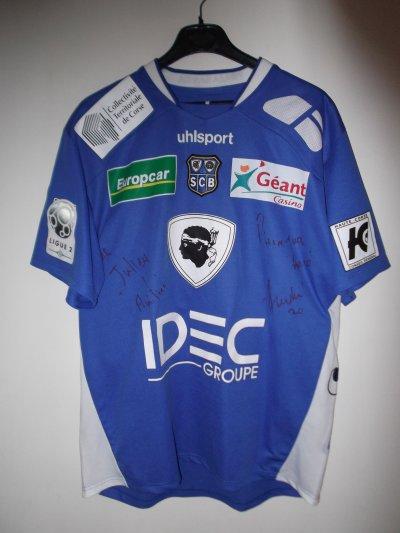 Maillot du SC Bastia 2008/2009 porté et dédicacé par Pierre-Yves André