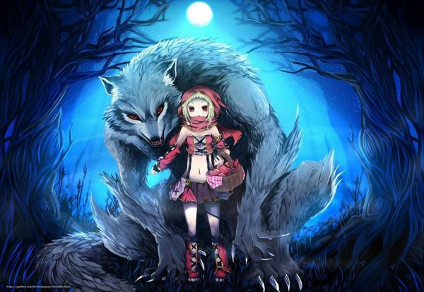 The Little Riding Hood with The Wolf