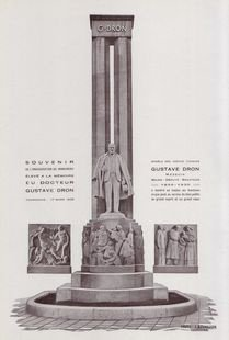 Monument Gustave Dron, photo issue de la brochure distribuée lors de l'inauguration le 17 mars 1935. Archives municipales de Tourcoing 2 AS 1
