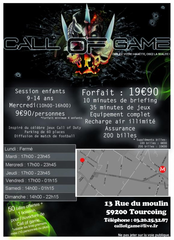 NOUVEAU PAINT BALL CALL OF GAME A TOURCOING