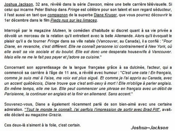 NEW : Joshua Jackson, nous parle de la relation avec Diane Kruger