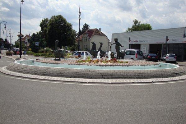 rond point des oies à Sausheim