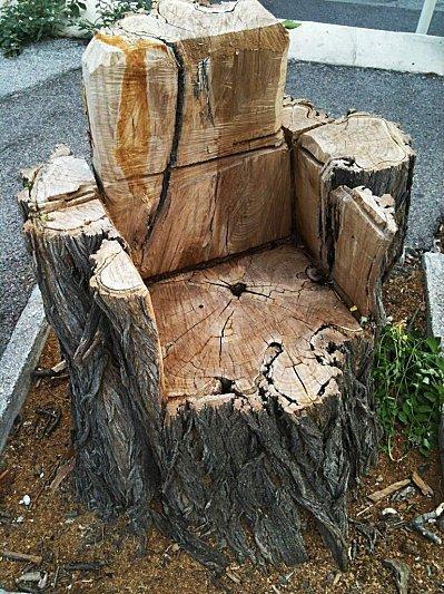 fauteuils en  bois  dans les bois