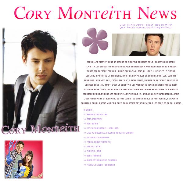 Bienvenue sur CoryMonteithNews , votre source Française sur le magnifique Cory Monteith !