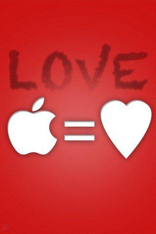 fond d'écran pomme + c½ur love