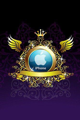 """fond d'écran pomme avec dorure """"iPhone"""""""