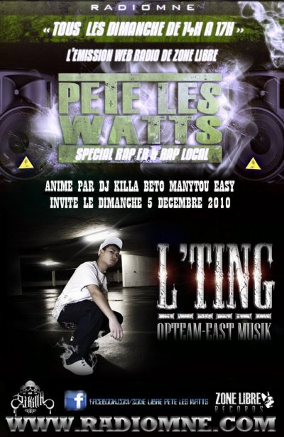 "L'TING & OPTEAM-EAST MUSIC DANS L'EMISSION WEBRADIO ""PETE LES WATTS"""