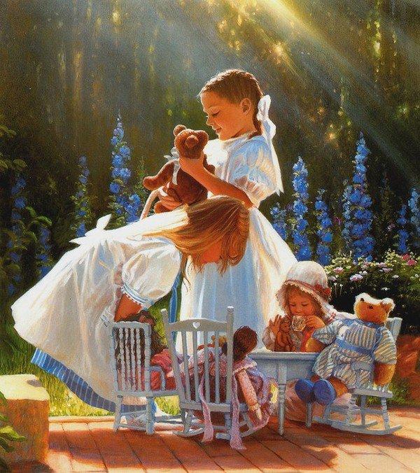 Enfants et poupées, poupons et oursons