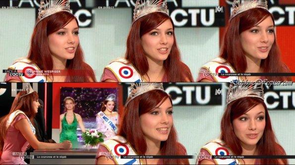 Delphine Wespiser Miss France 2012 dans Face à l'actu
