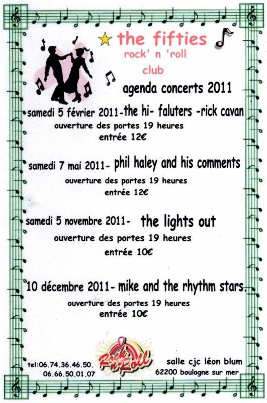 CONCERTS 2011 DU FIFTIES ROCK N ROLL CLUB DE BOULOGNE SUR MER (62)