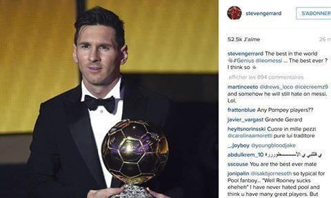 نشر أسطورة ليفربول جيرارد هذه الصورة و قال: أفضل لاعب في العالم، عبقري، أفضل لاعب في التاريخ؟ أعتقد ذلك.