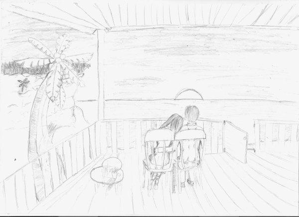 petit dessin d'un couple au coucher du soleil ... sur une île