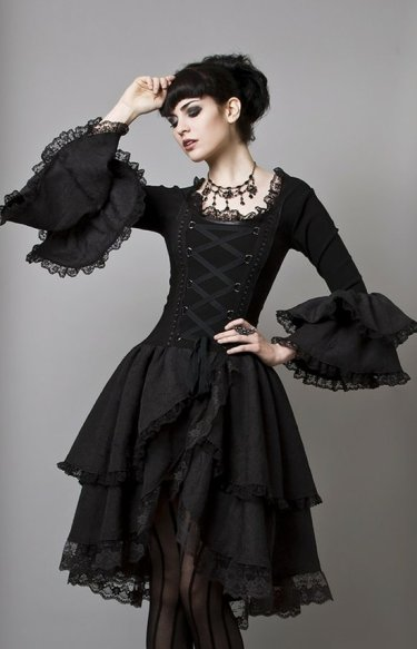 Black Color Applied In Gothic Style Clothing For Horrible Look