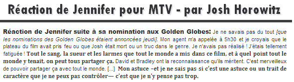 Actualité ll  Nominations aux Golden Globes: Réaction de Jennifer  _