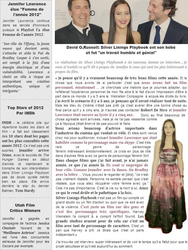 Actualité ll  Interview de David O.Russell sur SLP + autres news _