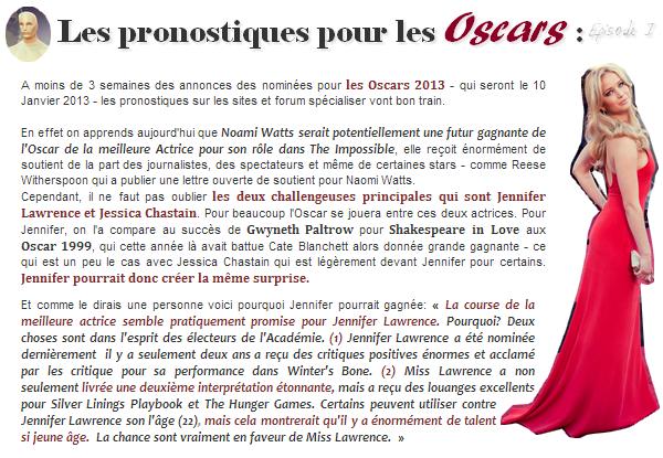 Actualité ll  Prédictions pour les Oscars 2013  _