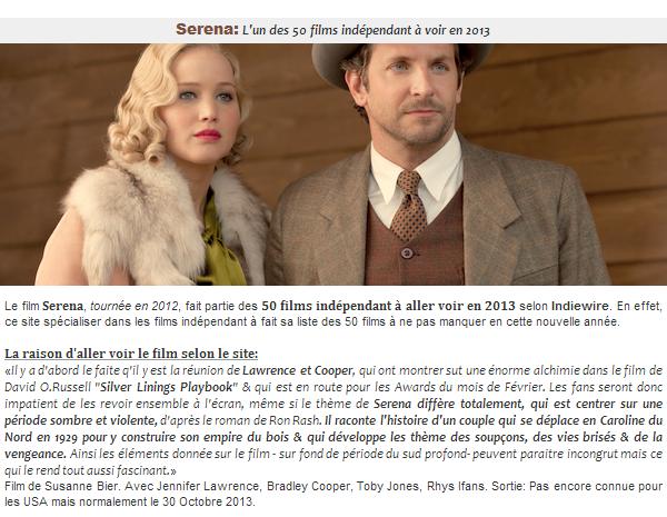 Actualité ll  Serena: L'un des 50 films indé à voir en 2013
