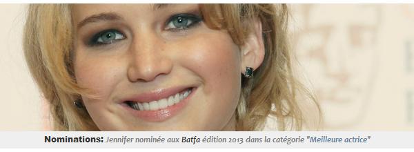 Actualité ll  Jennifer nominée aux Bafta