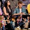 """17/04/12 : Selena et Justin sont allés voir le match des Lakers face aux Spurs. Ils ont eu la surprise de voir la """"kiss caméra"""" se tourner sur eux, ils ont joué le jeu et offert un bisou devant la salle entière. Mignon ou non ?"""