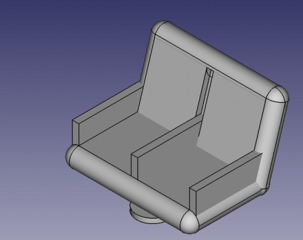 petite création en 3D: aménagement intérieurs voitures corail : les sièges de seconde classe
