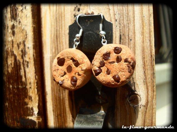 boucles d'oreilles aspect cookies fait maison