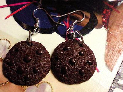Boucles d'oreilles cookies tout chocolat