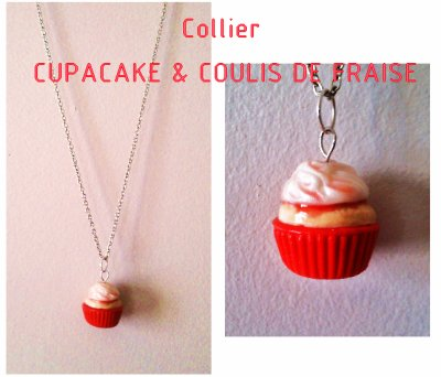 Collier Cupcake et Coulis de Fraise